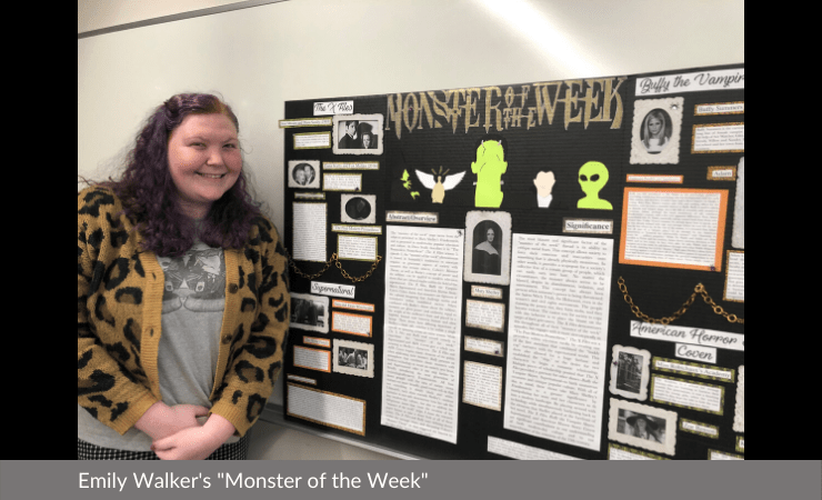 "Emily Walker displayed ""Monster of the Week"""
