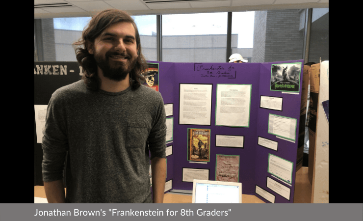 "Jonathan Brown displayed ""Frankenstein for 8th Graders"""