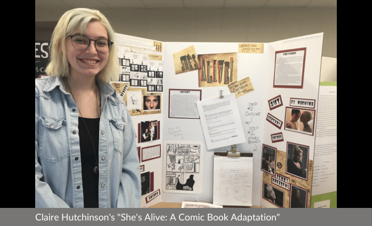 "Claire Hutchinson displayed ""She's Alive: A Comic Book Adaptation"""