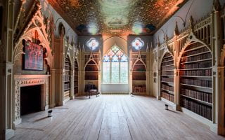 A Gothic revival-style library at Strawberry Hill in Twickenham, England, which dates to the 18th century and was created by architect and owner Horace Walpole.