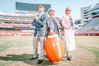 Christina Trexler and others with blow up football.