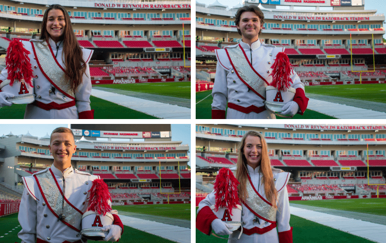 Drum Majors Lead Razorback Marching Band into New 2020-21 Season