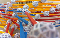 red, yellow and blue sticks are joined by white balls.