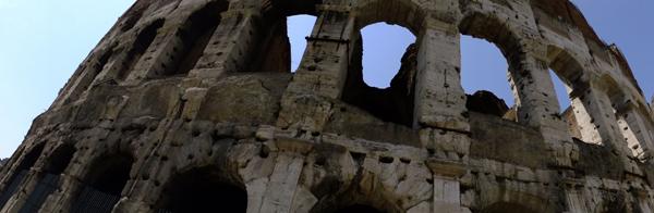 Panoramic shot of Roman Coliseum.