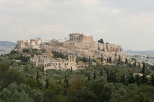 The Acropolis Hillside in Athens, Greece is shown