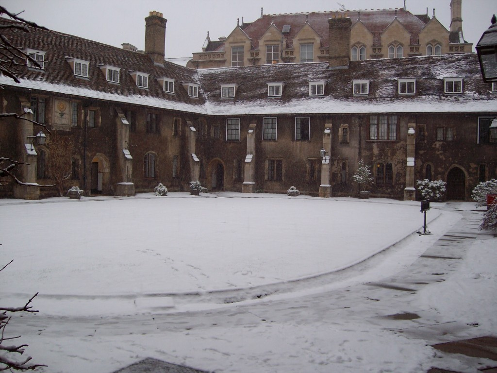 Here the Old Court is covered in snow, a pleasant sight in January.