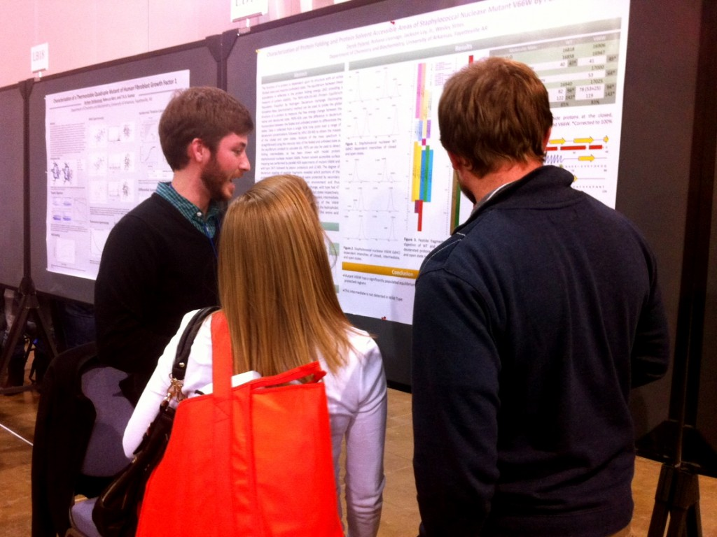 Derek Pyland answers questions about his research presentation at the 57th Annual Biophysics Society Meeting in Philadephia.