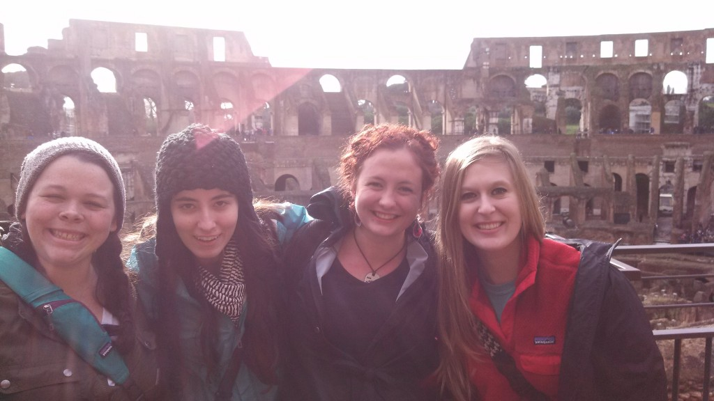 Cassie Travaille, Chloe Costello, Darby Guinn, and Andrea Anderson in the Colosseum in Rome.