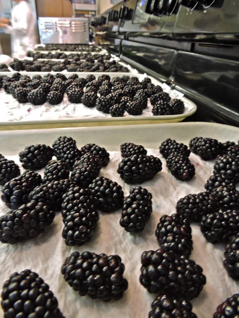 trays of blackberries