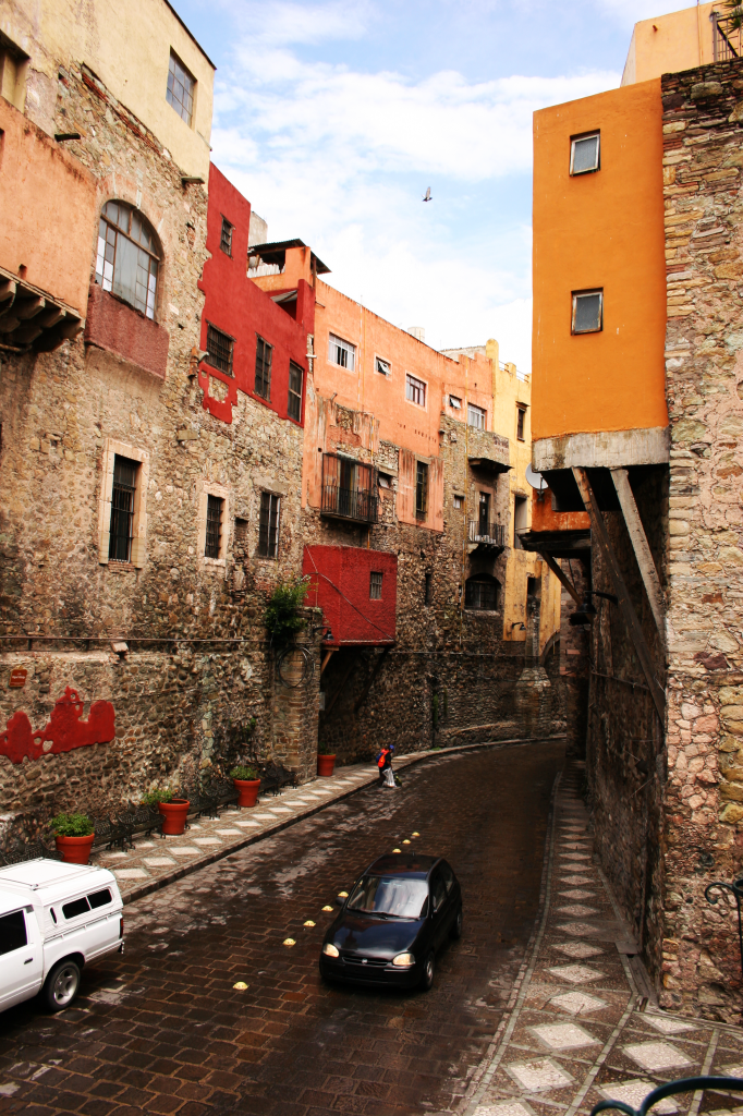Guanajuato has a unique infrastructure of winding tunnels that resulted when an old river which was diverted, creating especially dynamic moments when these unseen streets reemerge to link into the surface circulation.