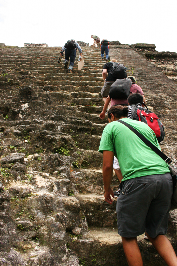 Our class follows our fearless professor up a steep pyramid in Tikal to sketch a panorama of this expansive site.