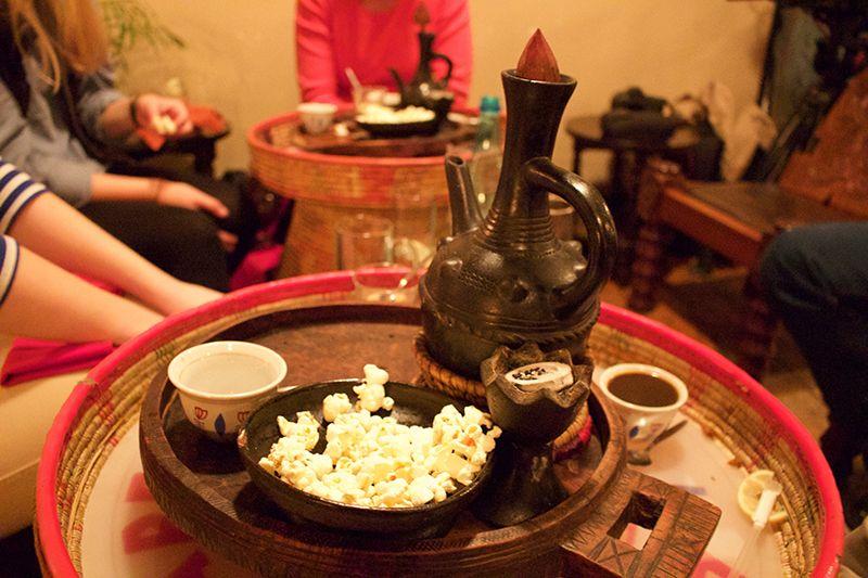 Coffee and popcorn finish a lavish Ethiopian feast in Cape Town.