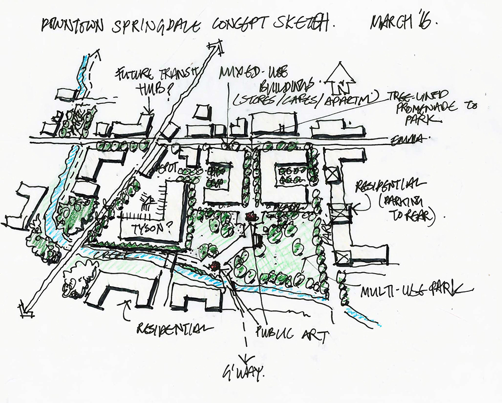 Sketched plan for downtown Springdale.