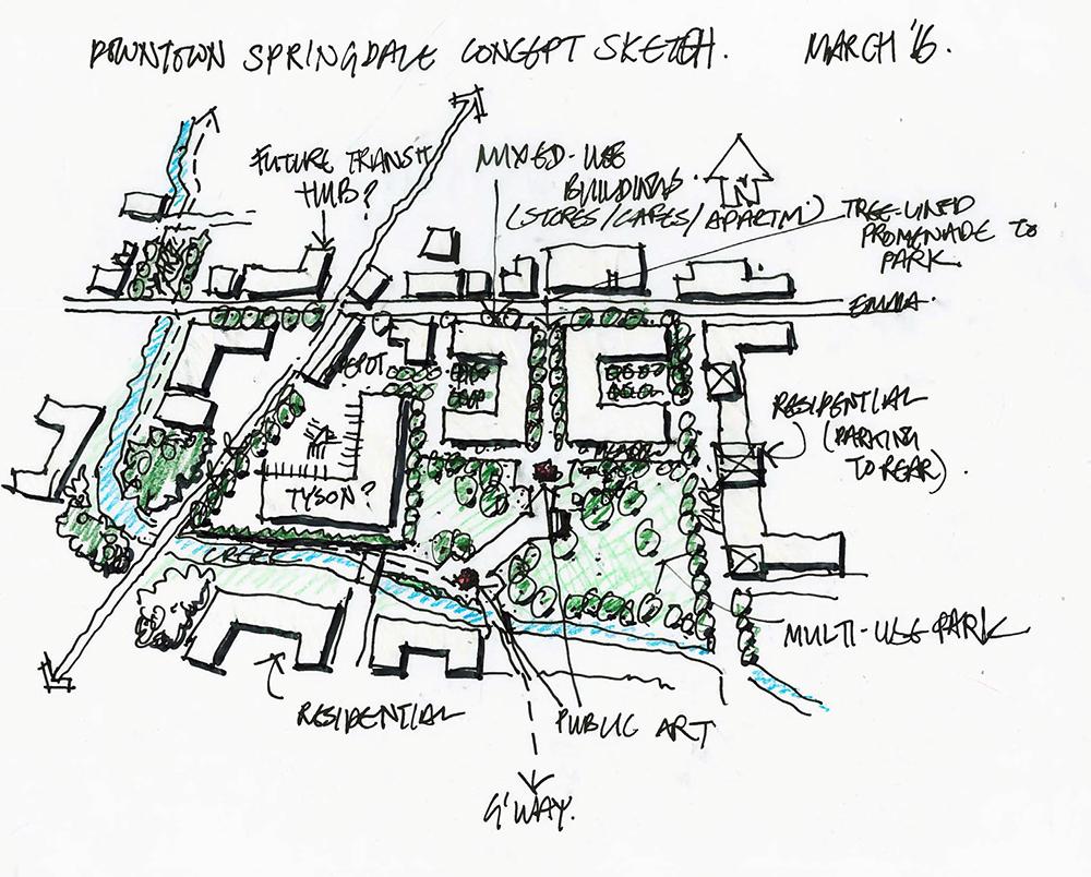 Sketched plan for downtown Springdale.
