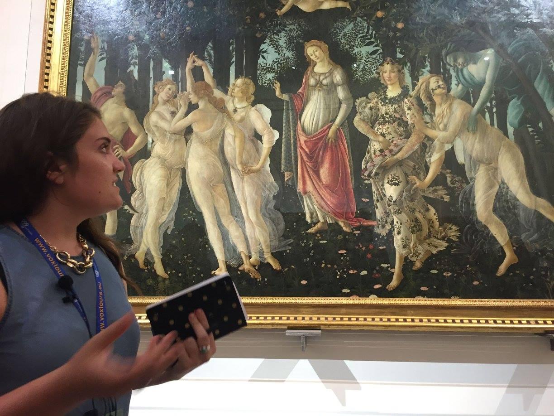 A female student discusses Botticelli's Primavera.