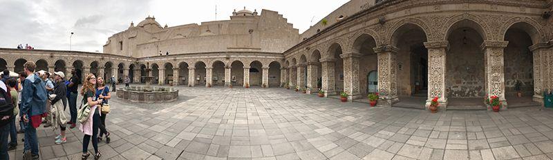 panoramic shot of church courtyard.