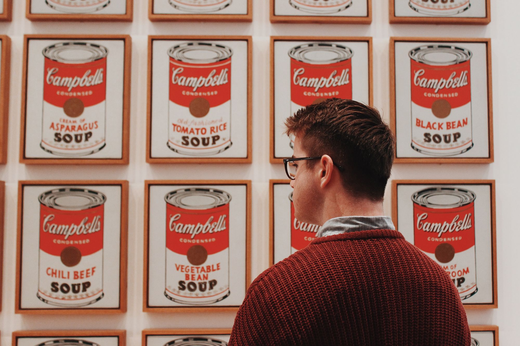 Student looks at Warhol's Soup Cans painting.