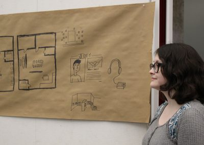 "13. Their initial ideas ranged from chalking information and distributing stickers on where homeless people can go to get food and shelter to placing non-perishable food items in the ""Little Free Libraries"" located throughout Fayetteville. In the final iteration, they focused on a pop-up art gallery and shelter, a ""Home for Homeless Art."""
