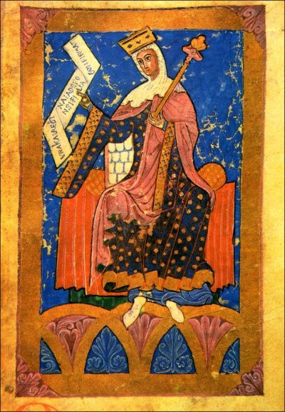 Image of a queen, from an illuminated manuscript.