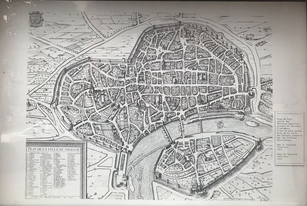 A historic plan of Toulouse, France.