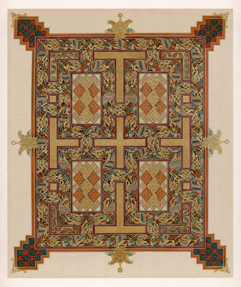 Illumination from the 'Lindisfarne Gospels' or Gospels of Saint Cuthbert (page facing the Gospel of Saint John). British Library.