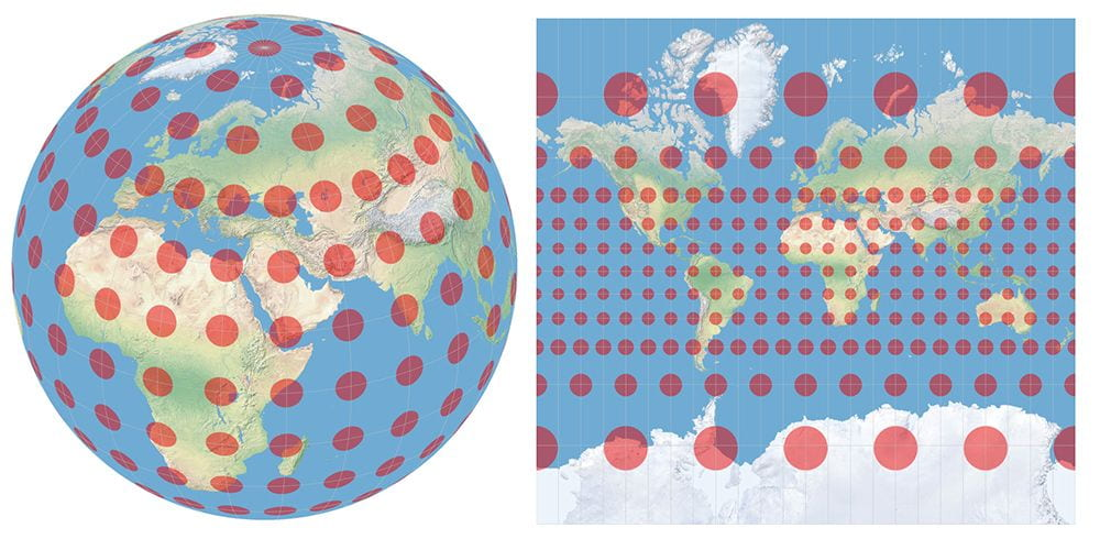 Globe and Mercator map shows distortion of latter.