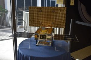 The MarCo CubeSat model on display at Jet Propulsion Laboratory near Pasadena, California. Photo by Wendy Echeverria