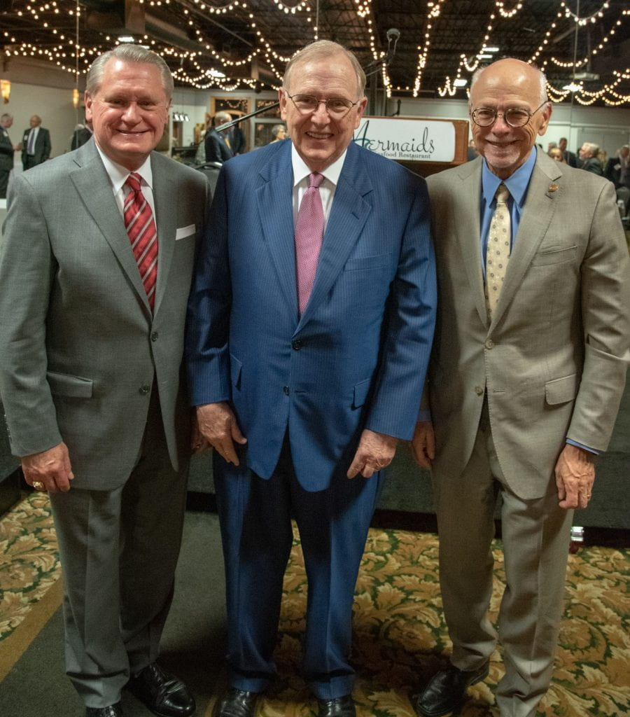 From left: G. David Gearhart, John White and Joe Steinmetz are pictured at a retirement celebration for White. Gearhart was University of Arkansas chancellor from 2008-2015, following White's 11-year tenure. Steinmetz has been Chancellor since 2016.
