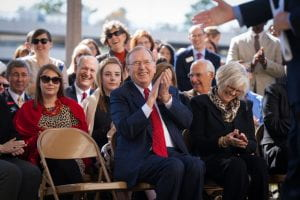 John and Mary Lib White laugh during the dedication ceremony for John A. White, Jr. Engineering Hall on the University of Arkansas campus.