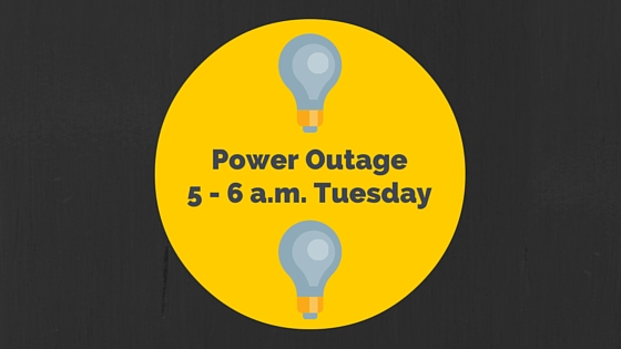 Campus Power Outage From 5 to 6 a.m. Tuesday