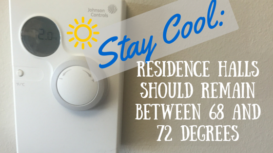 Stay Cool: Residence Halls Should Remain Between 68 and 72 Degrees