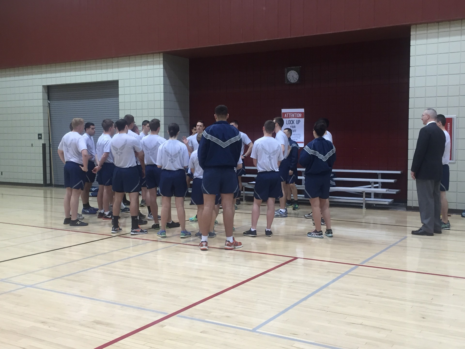 Air Force ROTC members group up during Friday's dodgeball game against the Army ROTC. | Photo by Amanda Bobo