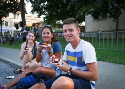 Students enjoying a 'Taste of Fayetteville'