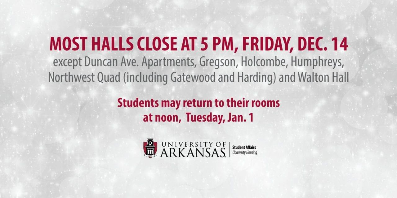 Most Halls Close Friday, Dec. 14 for Winter Break