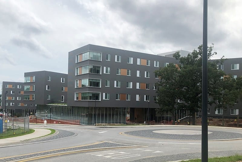 Adohi Hall, the newest residence hall on campus, is just east of Bud Walton Arena and south of Pomfret Hall.