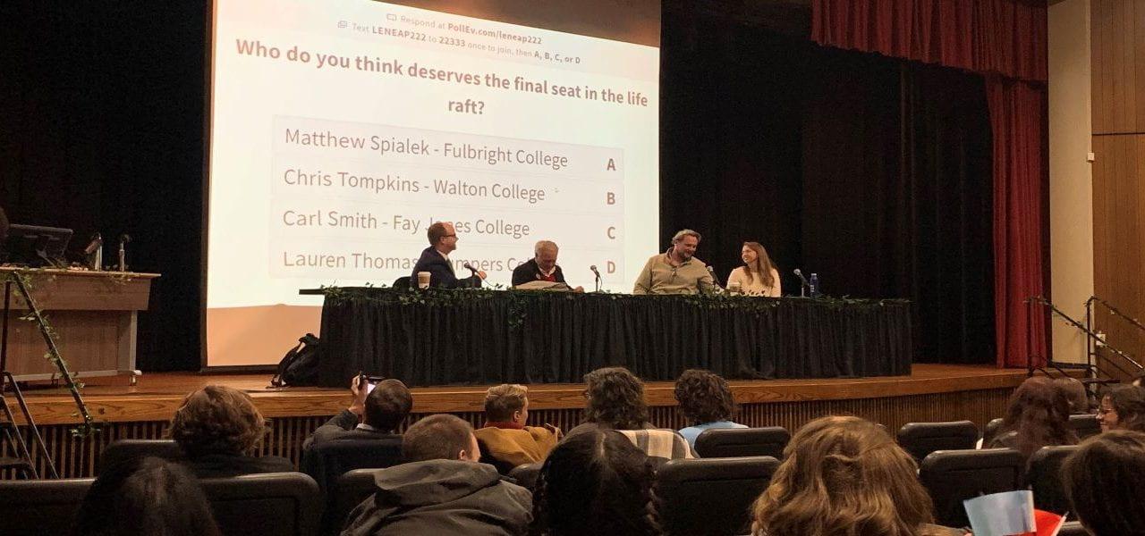 Faculty Members Compete at Annual Life Raft Debate