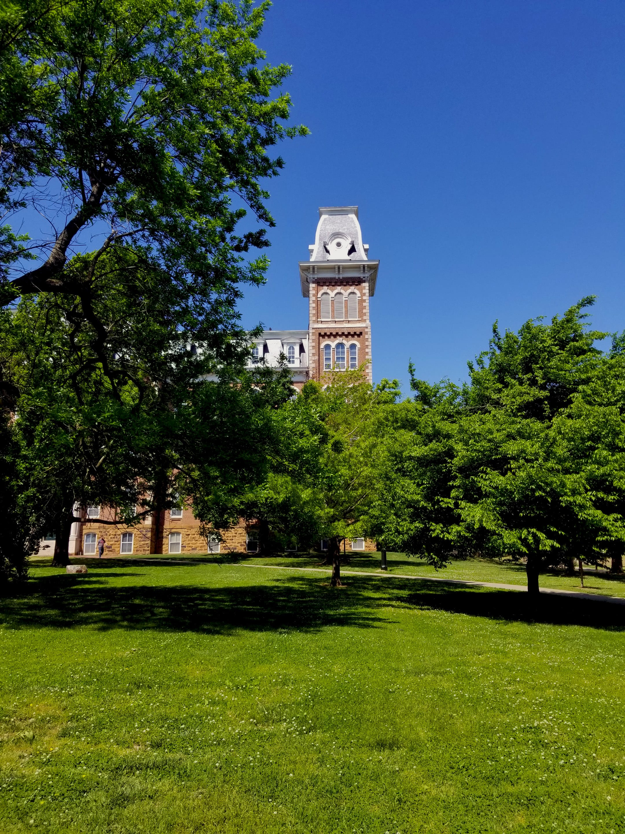 A view of the North Tower of Old Main from the East lawn