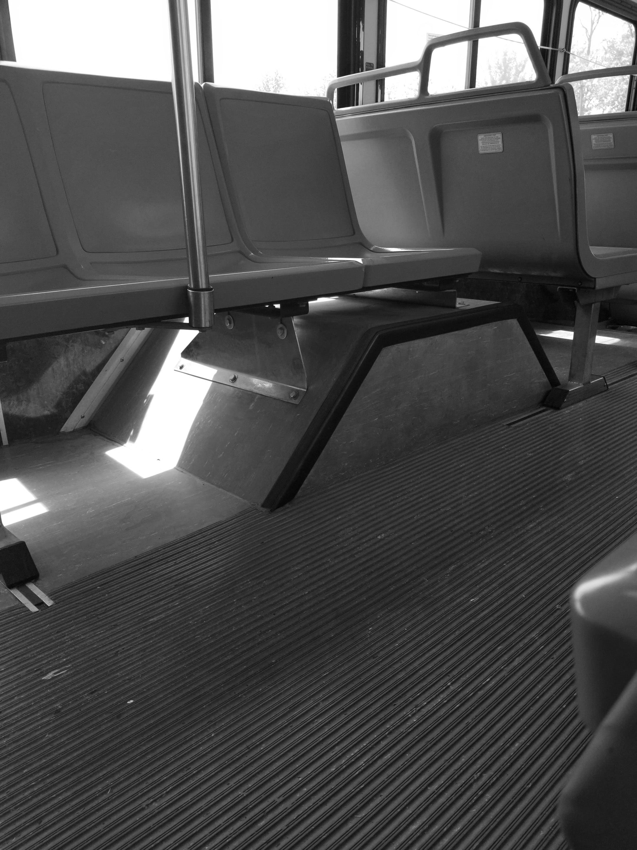 A black and white photo of the interior of the Razorback Transit