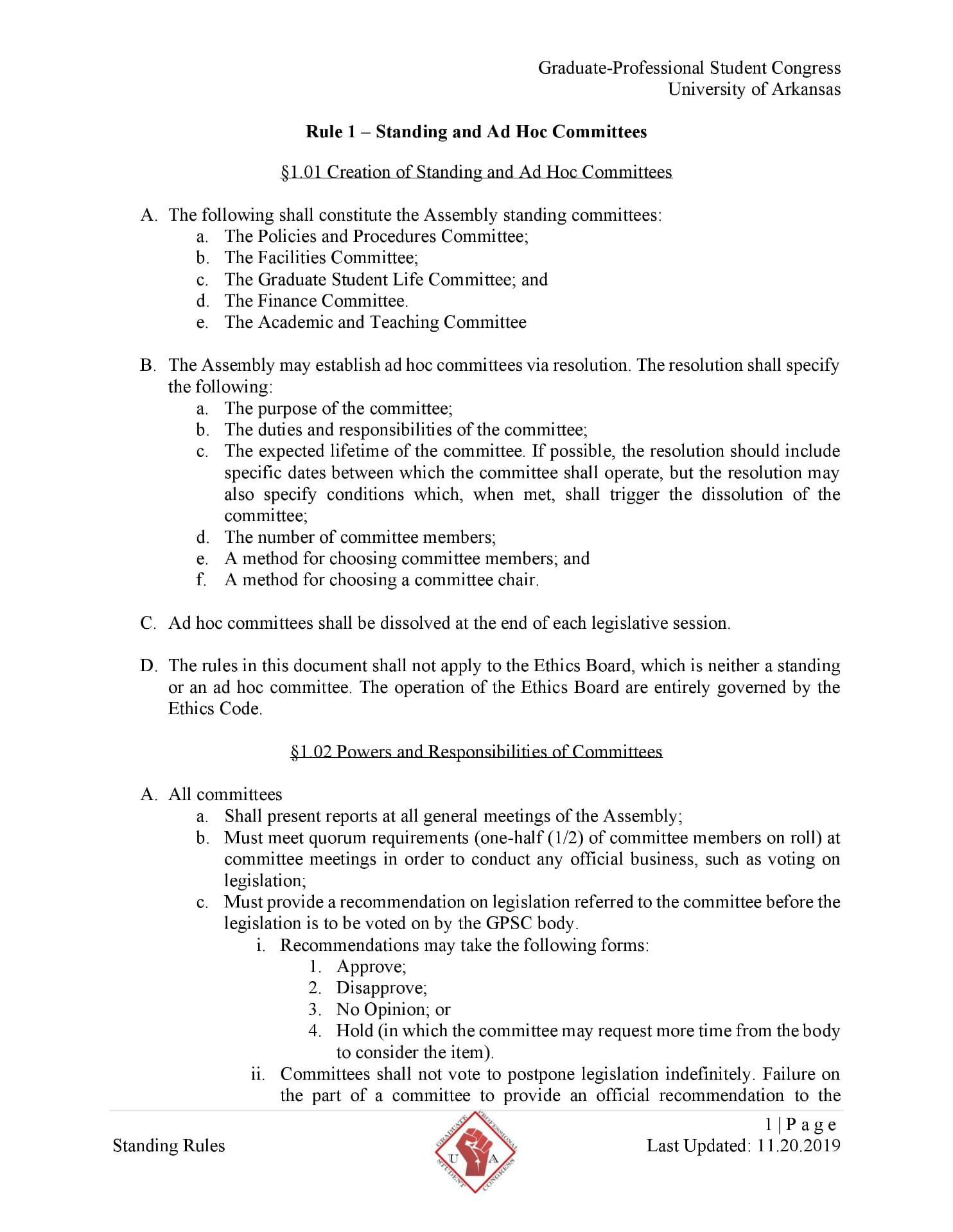 First page of the GPSC Standing Rules