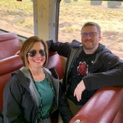 Dr. Kevin and Jackie Hammond aboard the Grand Canyon Railway.