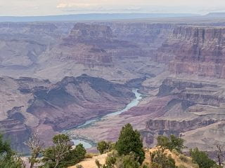 A view of the Colorado River at the south rim of the Grand Canyon.