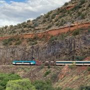 The Verde Canyon Railway Train going through the terrain of Arizona.