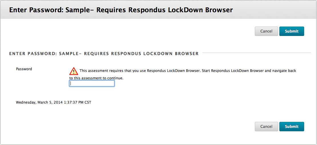 Error message requiring lockdown browser