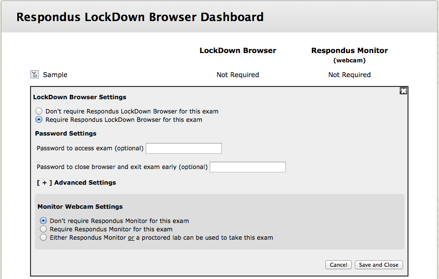 Select Require Respondus LockDown Browser