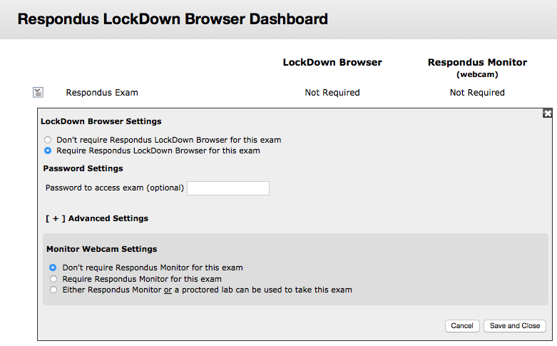 LockDown Browser Settings
