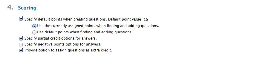 test options scoring section
