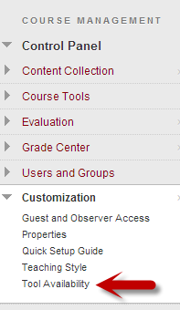 Tool Availability option under Customization in the Control Panel