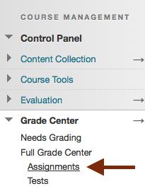 Assignments link under Full Grade Center