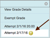 Choose attempt date to grade