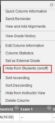 click hide from students on/off